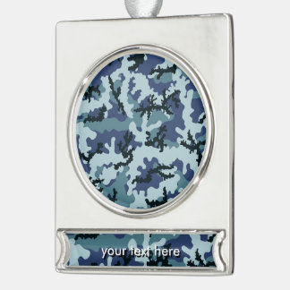Navy camouflage silver plated banner ornament