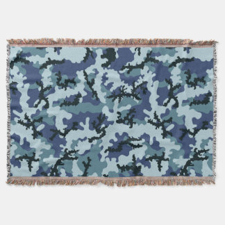 Navy camouflage throw blanket