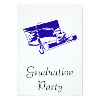Navy Cap & Diploma 13 Cm X 18 Cm Invitation Card