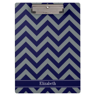Navy, Charcoal LG Chevron Navy Blue Name Monogram Clipboard