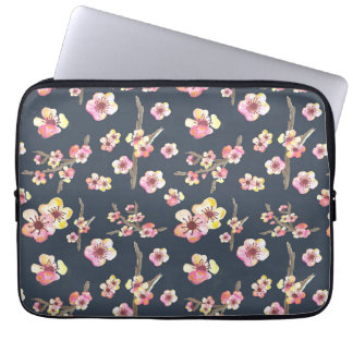 Navy Cherry Blossom Floral Computer Sleeve