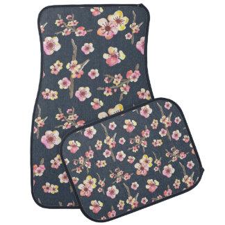 Navy Cherry Blossom Floral Floor Mat