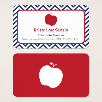 Navy Chevron and Red Apple Teacher Business Cards