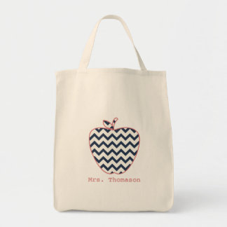 Navy Chevron & Coral Teacher Apple Grocery Tote Bag