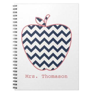 Navy Chevron & Coral Teacher Apple Notebook