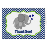 Navy Chevron Elephant Love Thank You Note FOLDING Note Card