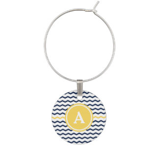 Navy Chevron Monogram Wine Charm