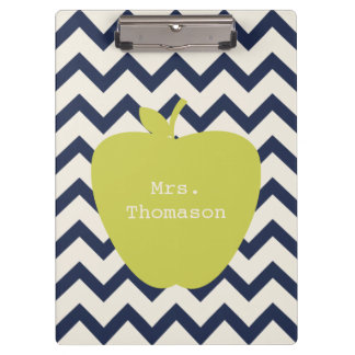 Navy Chevron Yellow Apple Teacher Clipboard