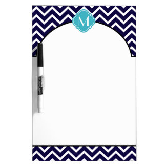 Navy Chevron Zigzag Stripes with Monogram Dry Erase Board