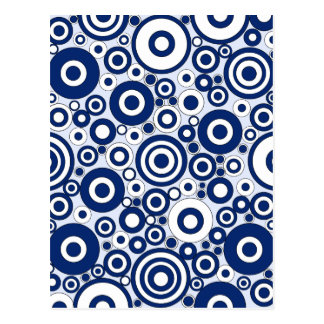 Navy Circles and Dots Postcard