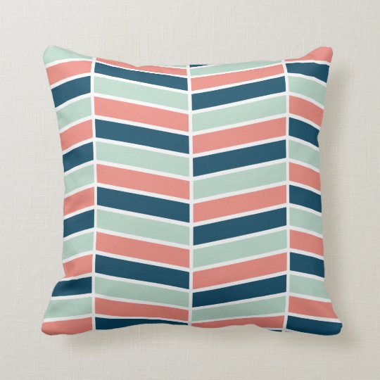 Navy, Coral and Aqua Herringbone Pattern Throw Pillow