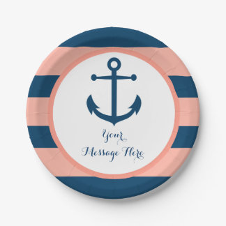 Navy & Coral Nautical Anchor Bridal Shower 7 Inch Paper Plate