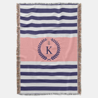 Navy Coral Nautical Stripes Personalized Monogram Throw Blanket