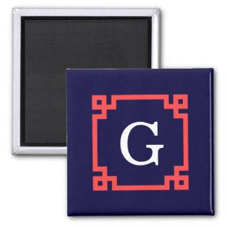 Navy, Coral Red Greek Key Frame #2 Init Monogram Magnets