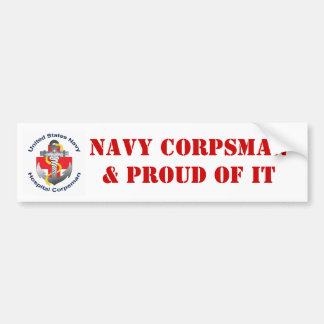 NAVY CORPSMAN& PROUD OF IT BUMPER STICKER