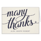 Navy & Cream Calligraphy Personalised Thank You Card