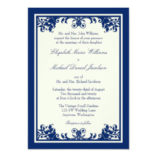 Navy Cream Vintage Flourish Scroll Wedding 13 Cm X 18 Cm Invitation Card