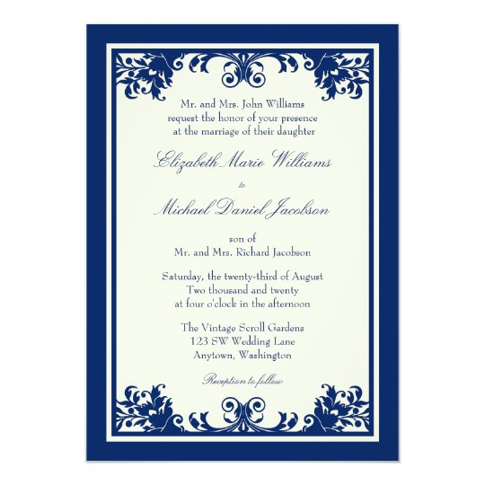 Navy Cream Vintage Flourish Scroll Wedding Card