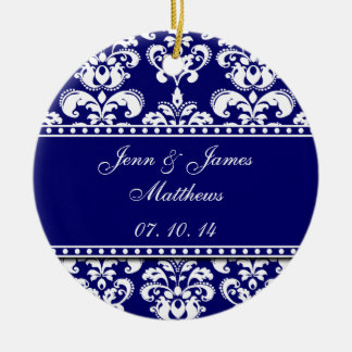 Navy Damask Names Date Wedding Ornaments