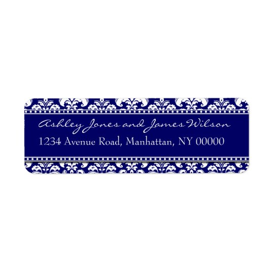 Navy Damask Return Address Labels