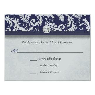 Navy Damask Swirls Wedding Response Card RSVP