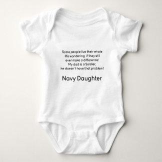 Navy Daughter No Problem Dad Baby Bodysuit
