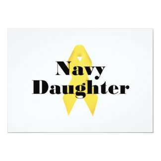 Navy Daughter Ribbon 13 Cm X 18 Cm Invitation Card