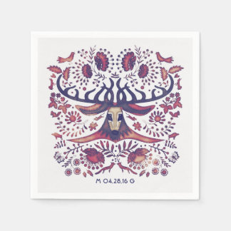 Navy Deer and Woodland Animals Wedding Disposable Napkin