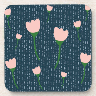 Navy Dot and Pink Coasters