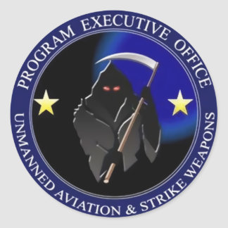 Navy Drone Logo Grim Reaper Classic Round Sticker