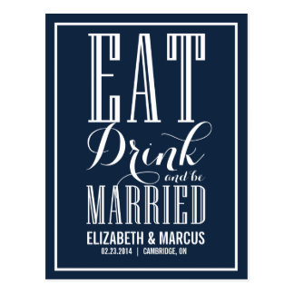 Navy Eat Drink & Be Married Save the Date Postcard