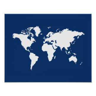 Navy Elegant World Poster