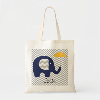 Navy Elephant Yellow Umbrella Custom Bag