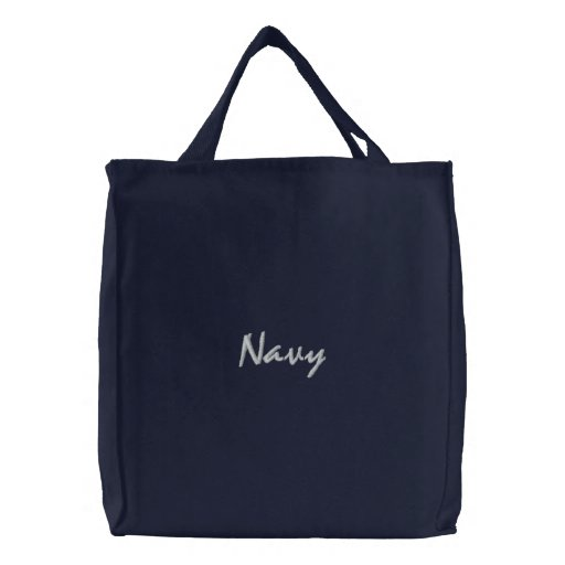 Navy Embroidered Bag