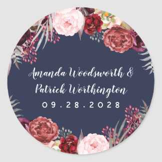 Navy Fall Marsala Blush Pink Peony Wedding Favor Classic Round Sticker
