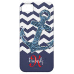 Navy Faux Glitter Anchor Chevron Personalised iPhone 5 Cases