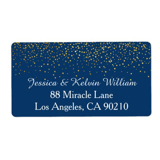 Navy Faux Gold Confetti Dot Wedding Return Address