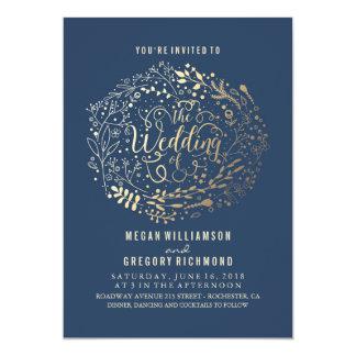 Navy Faux Gold Foil Floral Bouquet Wedding 13 Cm X 18 Cm Invitation Card