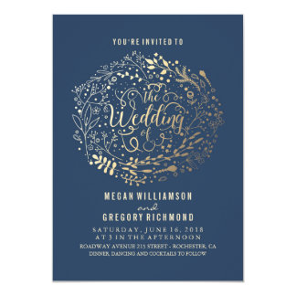 Navy Faux Gold Foil Floral Bouquet Wedding Card