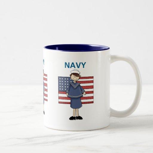 Navy Female Customizable Mugs