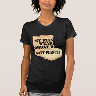 Navy Fiancee Desert Combat Boots T Shirts