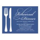 NAVY FLATWARE   REHEARSAL DINNER INVITE POSTCARD