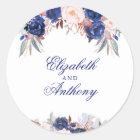 Navy Floral Boho Chic Wedding Classic Round Sticker