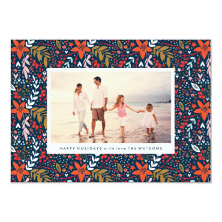 Navy Floral Christmas Pretty Holiday Photo Card