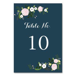 Navy floral Garden Table Number Card Table Cards
