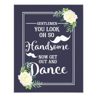 Navy floral Ivory Rose wedding party Bathroom sign