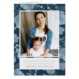 Navy Floral Mother's Day Card