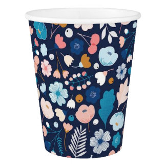Navy Floral Paper Cups