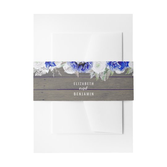 Navy Floral Rustic Invitation Belly Band