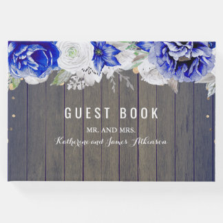 Navy Floral Rustic Wedding Guest Book